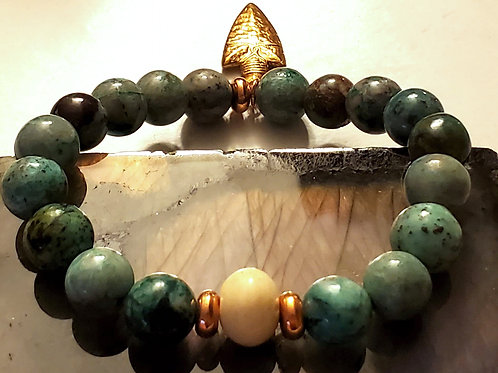 Chrysocolla, Copper and bone bead Bracelet