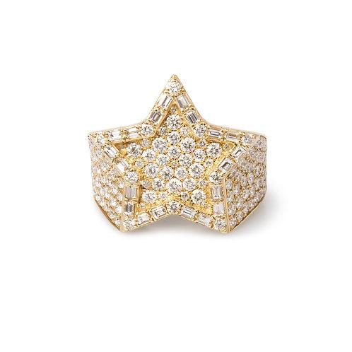 9K Star Ring Baguette Diamond Vs