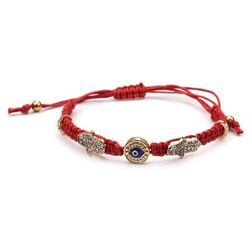 Red braided Hamsa & Evil Eye bracelet