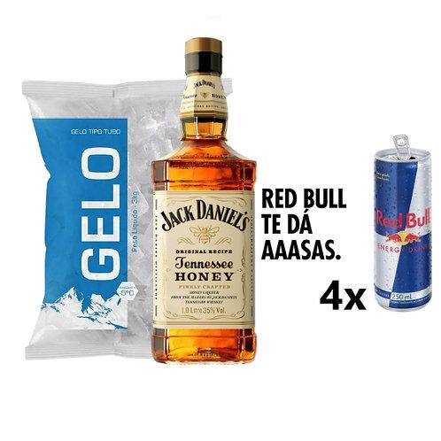 Combo Whisky Jack Daniels Honey, 4x Red Bull, Gelo 2kg
