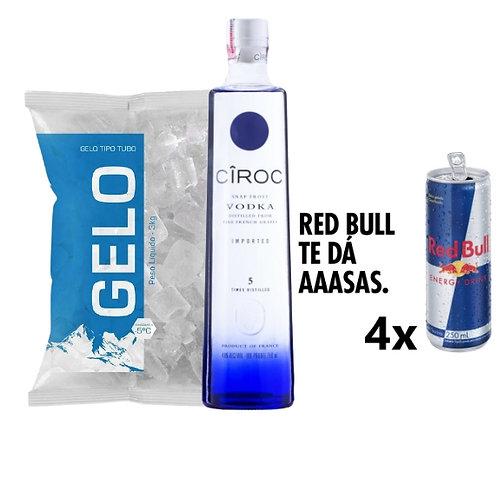 Combo Ciroc, 4x Red Bull, Gelo 2kg