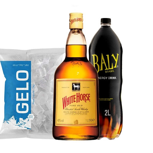 Combo Whisky White Horse, Baly 2L, Gelo 2kg