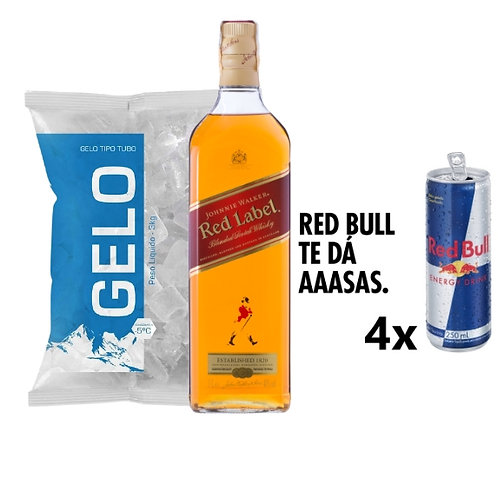 Combo Whisky Red Label, 4x Red Bull, Gelo 2kg