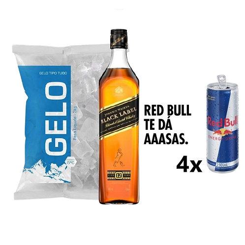 Combo Whisky Johnnie Walker Black Label, 4x Red Bull, Gelo 2kg
