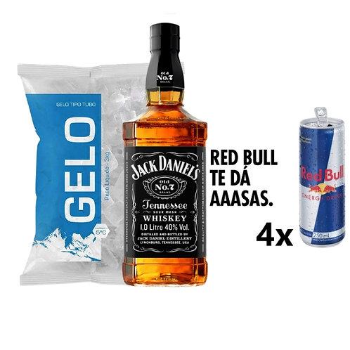 Combo Whisky Jack Daniels, 4x Red Bull, Gelo 2kg