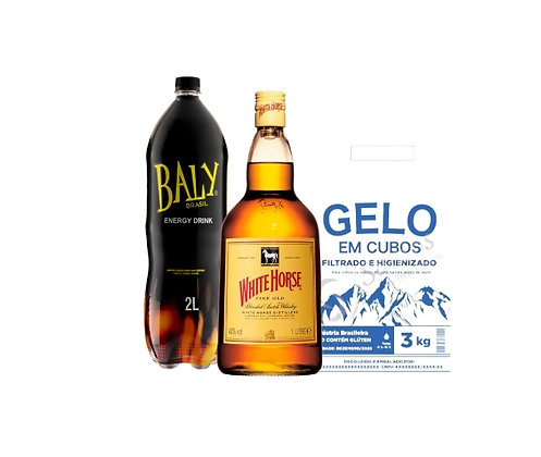 Whisky White Horse 1L+Energetico Baly 2L+Gelo3kg