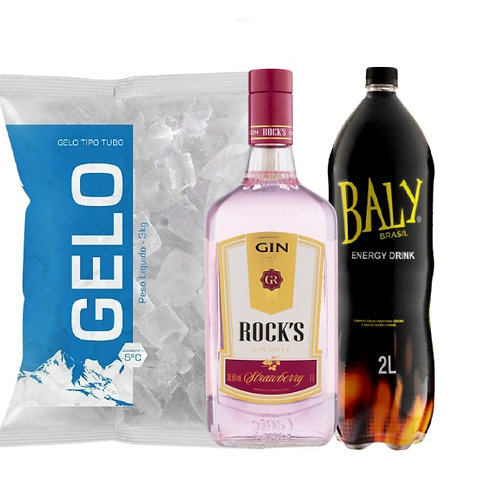 Combo Gin Rocks Strawberry, Baly 2L, Gelo 2kg