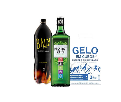 Whisky Passaporte 1L+Energetico Baly 2L+Gelo3kg