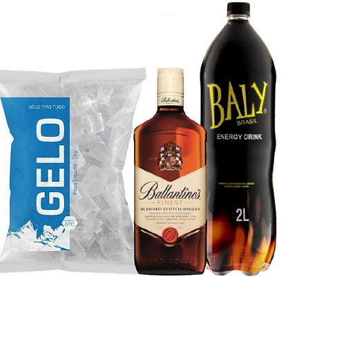 Combo Whisky Ballantines, Baly 2L, Gelo 2kg