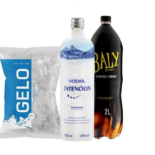 Combo Vodka Intencion, Baly 2L, Gelo 2Kg