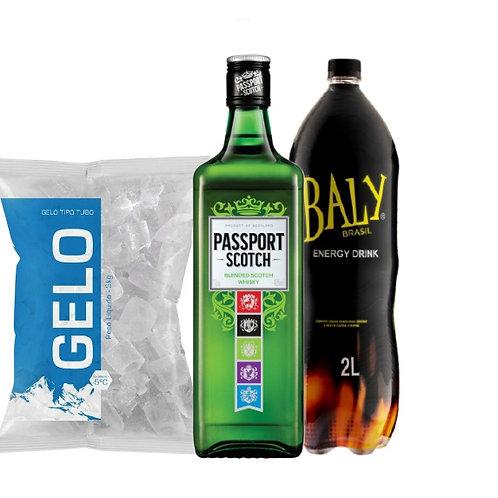 Combo Whisky Passaporte, Baly 2L, Gelo 2kg