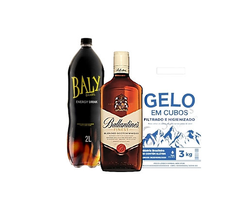 Whisky Ballantines 750ml+Energetico Baly 2L+Gelo3kg