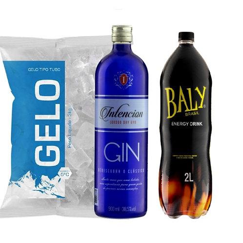 Combo Gin Intencion, Baly 2L, Gelo 3kg