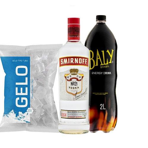 Combo Vodka Smirnoff, Baly 2L, Gelo 2kg