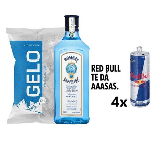 Combo Gin Bombay Sapphire, 4x Red Bull, Gelo 2kg