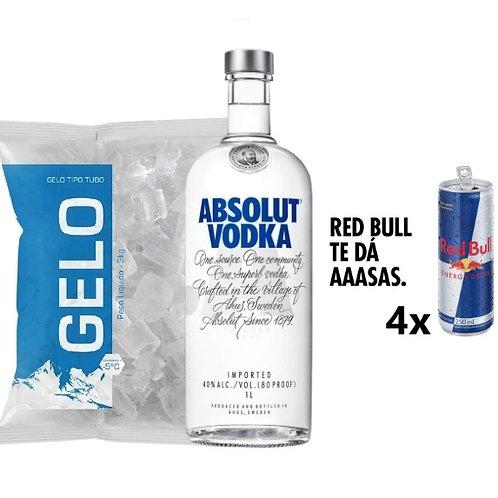Combo Absolut, 4x Red Bull, Gelo 2kg