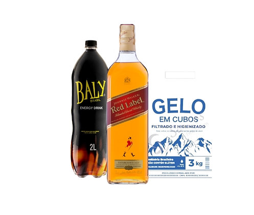 Whisky Red Label1L+Energetico Baly 2L+Gelo3kg