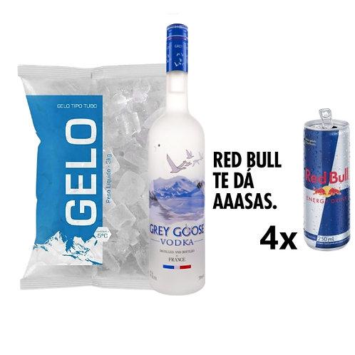 Combo Grey Goose, 4x Red Bull, Gelo 2kg