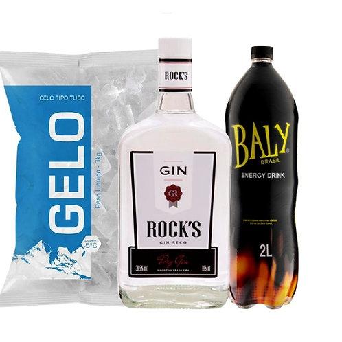 Combo Gin Rocks, Baly 2L e Gelo2kg