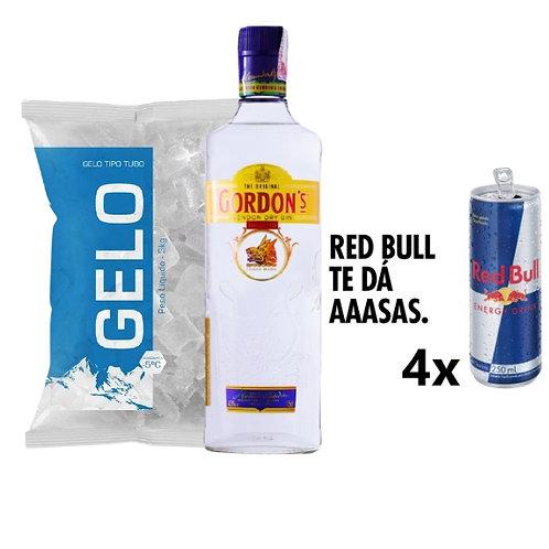 Combo Gin Gordons, 4x Red Bull, Gelo 2kg