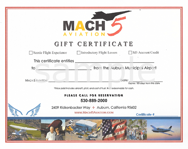Mach 5 Gift Certificate