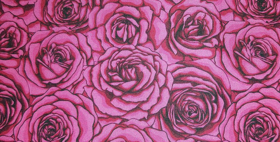 Pink roses cotton woven