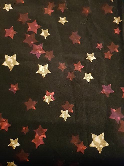 Red & gold stars cotton woven