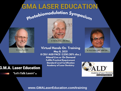 Attend Comprehensive Photobiomodulation Training in Dentistry: May 8 Offered by GMA Laser Education