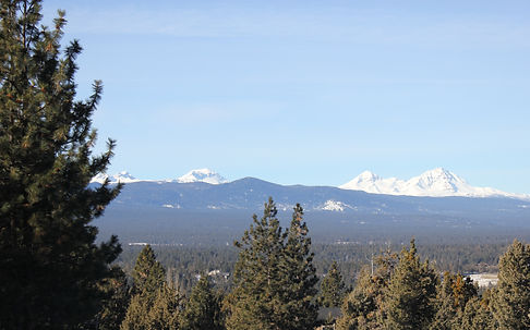 View of the Cascades Mountains from Awbrey Butte in Bend Oregon