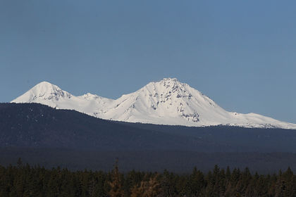 View of the Three Sisters from Awbrey Butte in Bend Oregon