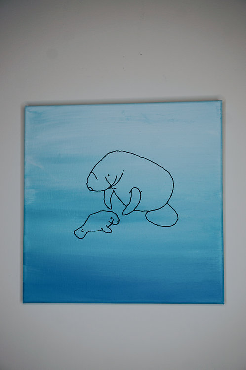 Manatee Embroidery on Canvas