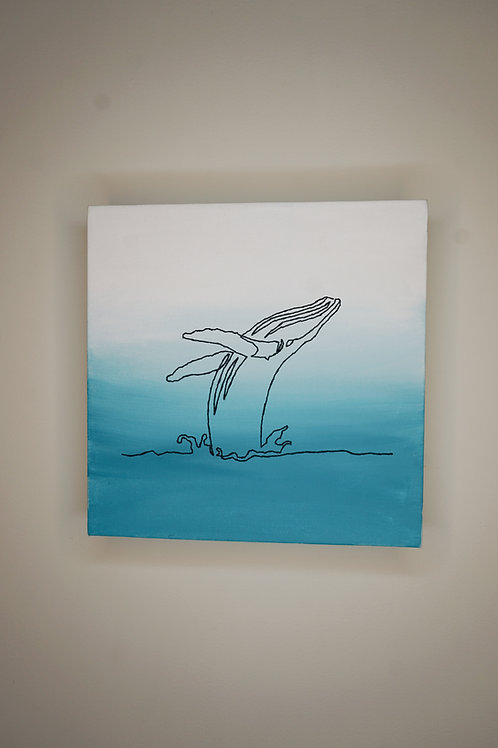Whale Breaching Embroidery on Canvas