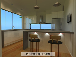 Example of Kitchen Renovation Design by Vision Renovations Sunshine Coast - 3D rendered design of bedroom & kitchen renovation in Maroochydore (Sunshine Coast)
