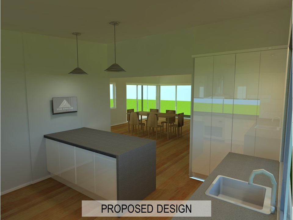 Example of Kitchen Renovation Design by Vision Renovations Sunshine Coast - 3D rendered design of bedroom & kitchen renovation in Maroochydore (Sunshine Coast)