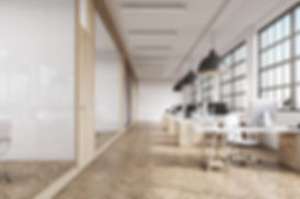 naturally lit office environment with wood