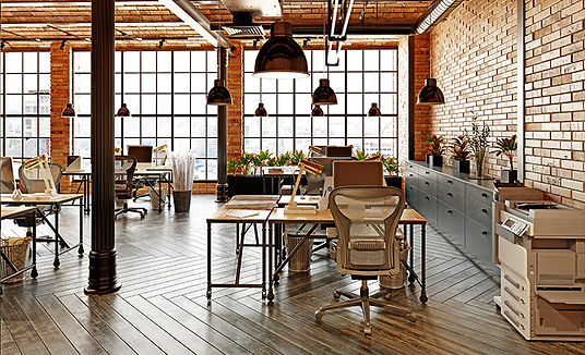 industrial office renovation with natural materials