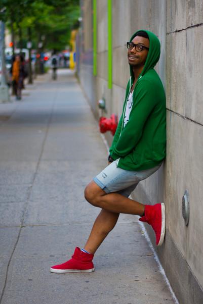 Xav A. in Green Hoodie, Square - David A