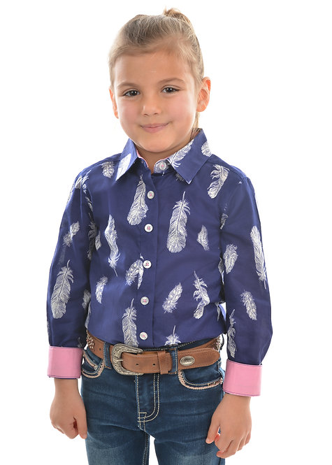GIRLS PURE WESTERN FEATHER PRINT L/S SHIRT