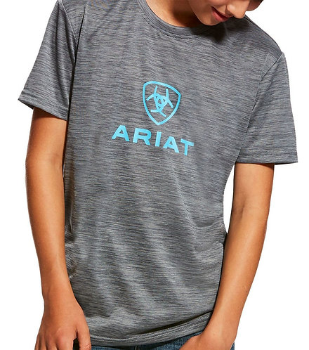 KIDS ARIAT CHARGER LOGO TEE-JETTY GREY