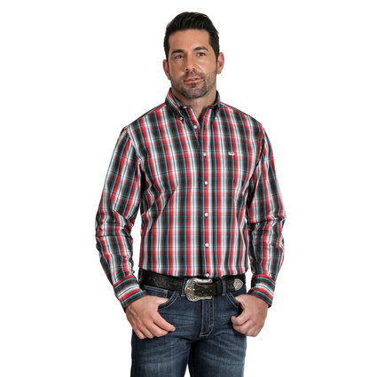 WRANGLER MENS 20X COMPETITION CHECK 1PKT LS SHIRT-BLACK/RED