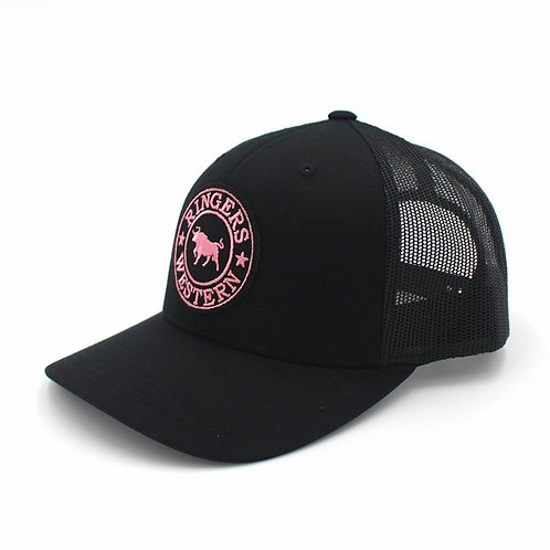 RINGERS WESTERN Signature Bull Trucker Black with Black & Pink Patch