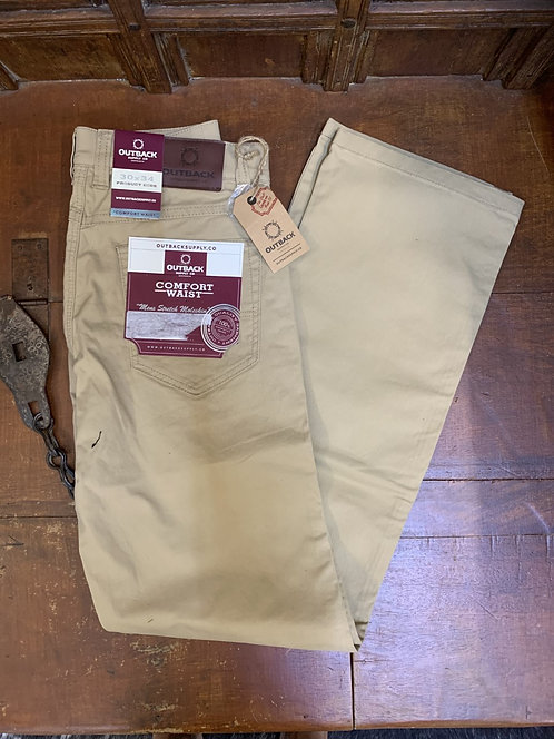 MENS OUTBACK SUPPLY CO MID RISE STRETCH MOLESKIN JEANS -SAND