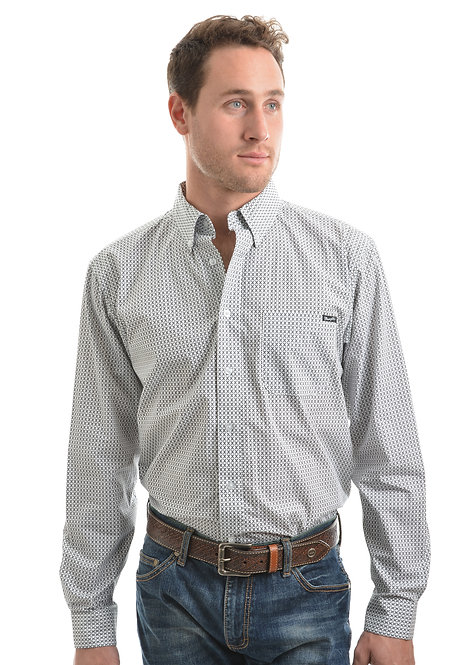 MENS WRANGLER JOSHUA PRINT BUTTON DOWN LS SHIRT