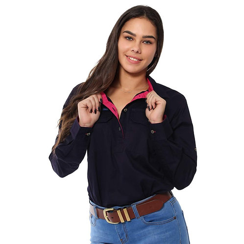 LADIES RINGERS WESTERN Pentecost River Half Button Work Shirt - Dark Navy