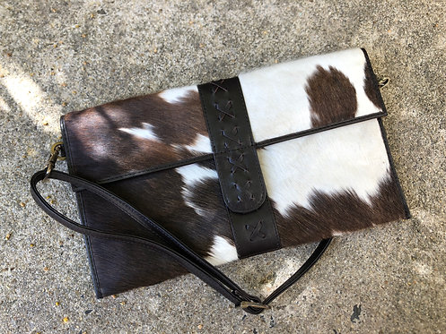 SPLIT- CROSS STITCH COWHIDE BAG- CHOCOLATE