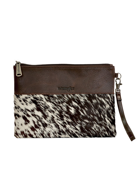 LADIES WRANGLER COWHIDE POUCH- BROWN