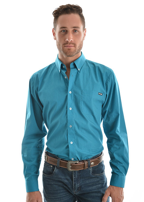 MENS PURE WESTERN DAWSON PRINT BUTTON DOWN LS SHIRT