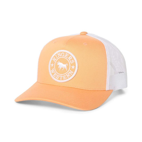 RINGERS WESTERN Signature Bull Trucker Peach & White with White & Peach Patch