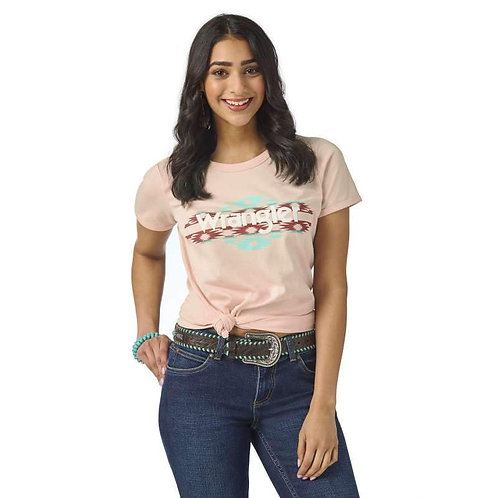 LADIES WRANGLER WESTERN VINTAGE TEE - LIGHT PINK