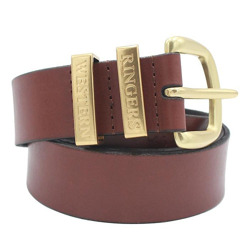 RINGERS WESTERN THE JAMES LEATHER BELT BROWN/GOLD  -118122100-BRGLD
